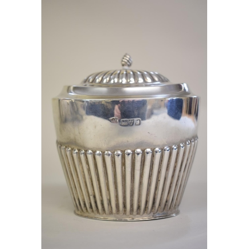 10 - <strong>A silver Queen Anne style lidded sugar box,</strong><em> by Barker Brothers, </em>Chester 19...