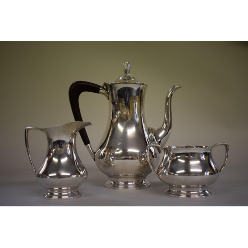 2 - <strong>A silver three piece coffee set</strong>, <em>by Barker Brothers Ltd</em>, Birmingham 1963, ...