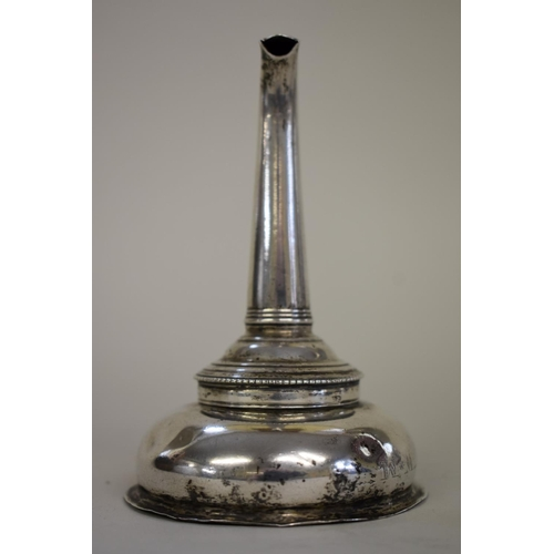 20 - <strong>A George III silver wine funnel,</strong> <em>marks rubbed Hester Bateman</em>, London 1777,...