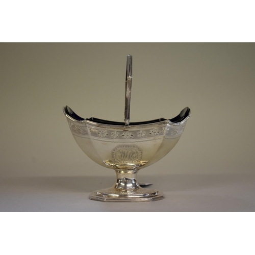 30a - <strong>A George III silver swing handled pedestal sugar basket,</strong><em>by Charles Chesterman ...