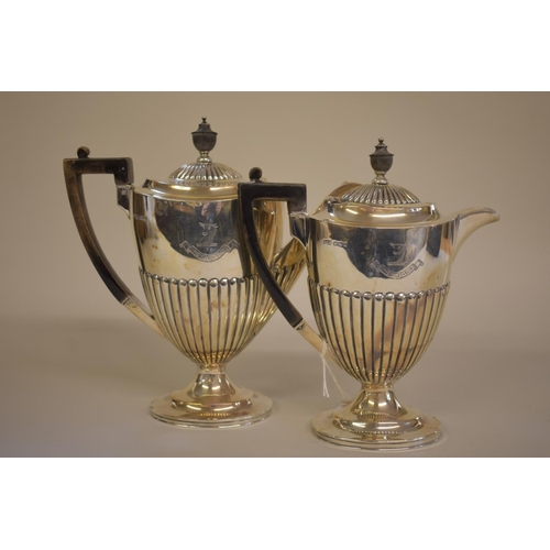 32 - <strong>A Victorian </strong><strong>silver </strong><strong>coffee pot and matching hot water jug,<...