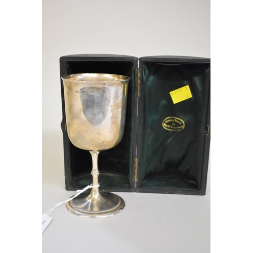 44 - <strong>A cased Victorian silver goblet,</strong><em>by S S </em>(marks rubbed),London 1866, 15.5c...