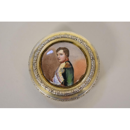 54 - <strong>A French silver gilt snuff box,</strong> <em>by Edouard Clerc</em>, the lid set porcelain pl...