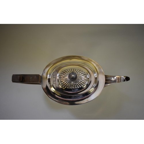 7 - <strong>A Victorian Queen Anne style silver teapot,</strong> <em>by</em> <em>Mappin Bros,</em>Sheff...