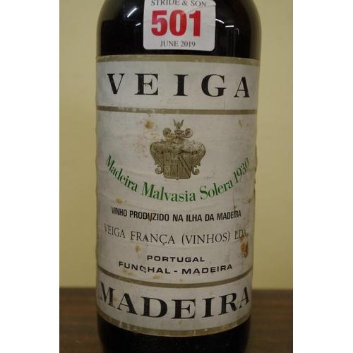 501 - <strong>A 75cl</strong><strong>bottle of Veiga Madeira Malvasia Solera 1930.</strong>...