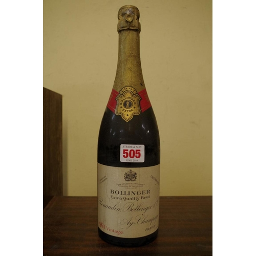 505 - <strong>A bottle of Bollinger 1961 vintage Extra Quality Brut champagne.</strong>...