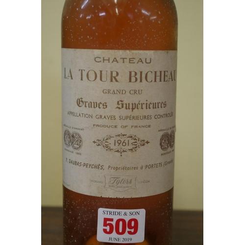 509 - <strong>A bottle of Chateau La Tour Bicheau 1961,</strong> Grand Cru Graves Superieures....