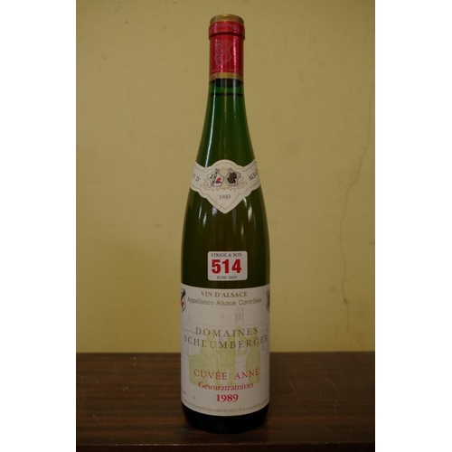 514 - <strong>A 75cl bottle of Gewurztraminer 1989,</strong> Domaines Schlumberger....
