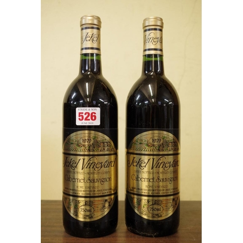 526 - <strong>Two 75cl bottles of Jekel Home Vineyard cabernet sauvignon 1979. </strong>(2)...
