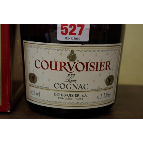 527 - <strong>A 1 litre bottle of Courvoisier three star luxe cognac,</strong> in card box....