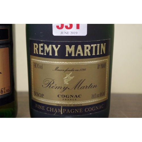 531 - <strong>Two bottles of brandy,</strong> comprising: a 24 fl.oz. Remy Martin VSOP; and a Castelmor Na...