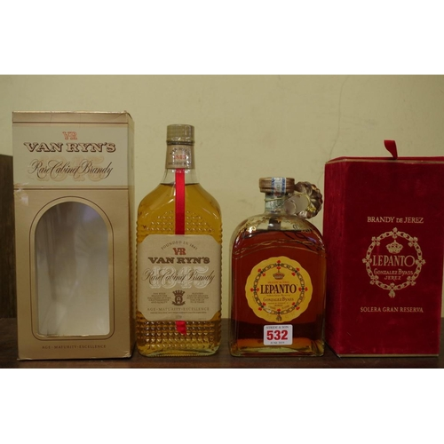 532 - <strong>A 75cl bottle of Lepanto 'Solera Gran Reserva' Brandy de Jerez,</strong> in box; together wi...