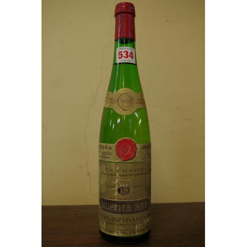 534 - <strong>A 75cl bottle of Gewurztraminer Reserve Personnelle 1979,</strong> Kuentz-Bas....