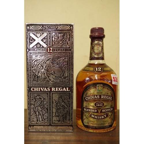 535 - <strong>WITHDRAWN FROM SALE: </strong>A 75cl bottle ofChivas Regal 12 year old whisky, in card box....