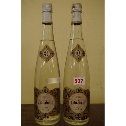 537 - <strong>Two 24 1/2 fl.oz. bottles of Cusenier Mirabelle Vieille Reserve. </strong>(2)...