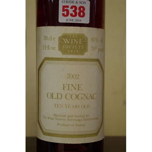 538 - <strong>Two 70cl bottles of cognac,</strong> comprising: The Wine Society Fine Old 10 year old; and ...
