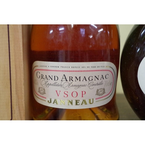 541 - <strong>Two bottles of Armagnac,</strong> comprising: a 70cl Janneau VSOP, in owc; and 24 2/3 fl.oz....