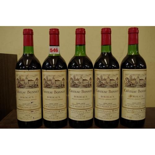 546 - <strong>Five 75cl bottles of Chateau Bonnet Bordeaux 1978,</strong> Andre Lurton. (5)...