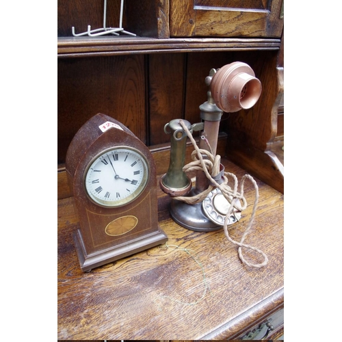 1220 - <strong>An old candlestick telephone;</strong> together with an Edwardian mahogany and inlaid l...