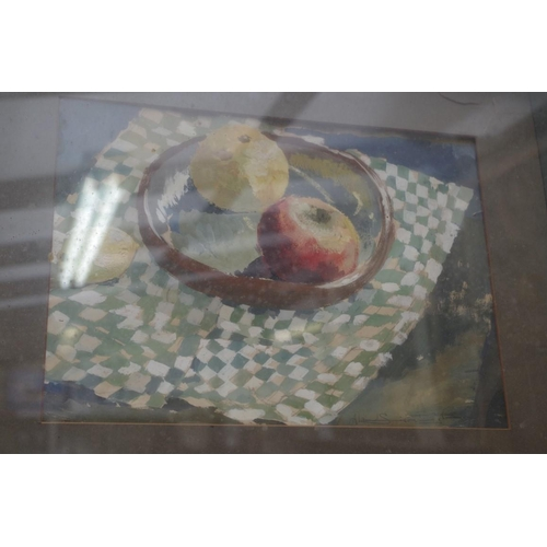 1227 - <strong>Alan Sievewright,</strong> still life of fruit; still life of a bottle, a pair, each signed,...