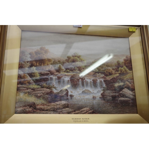 1228 - <strong>Charles A Bool</strong>, Conway River, a pair, each signed, watercolour and gouache, 27 x 37...