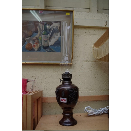 1230 - <strong>A Japanese bronze vase form oil lamp,</strong>26cm high....
