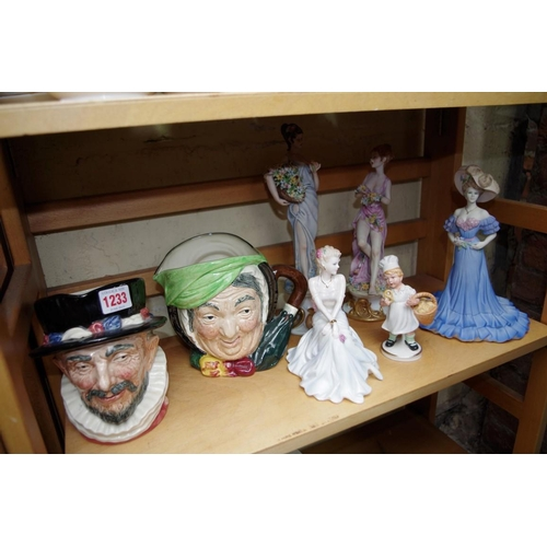 1233 - <strong>Two Royal Doulton character jugs;</strong> together with two Coalport figures; and three oth...