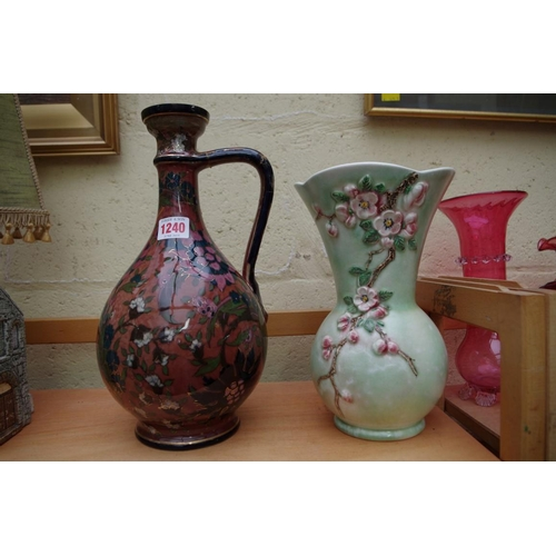 1240 - <strong>A Zsolnay Pecs jug,</strong> 32cm high, (a.f.); together with a Sylvac vase, 25cm high....