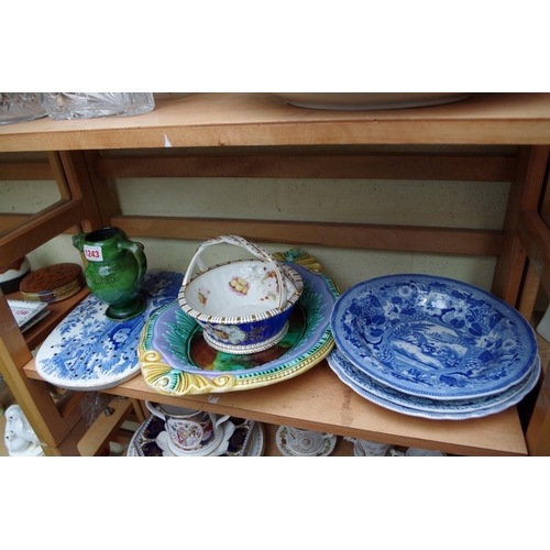 1243 - <strong>An interesting collection of 19th century English pottery and porcelain;</strong>toget...