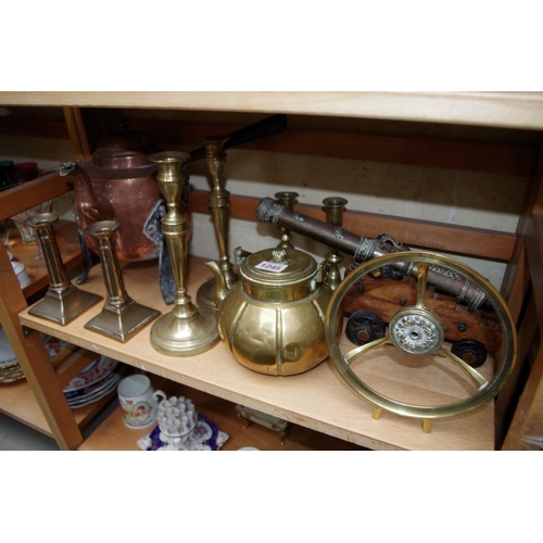 1245 - <strong>A collection of copper and brass, </strong>to include a pair of Georgian candlesticks.&...