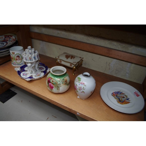 1246 - <strong>A small collection of pottery and porcelain,</strong>to include a Royal Worcester globular ...
