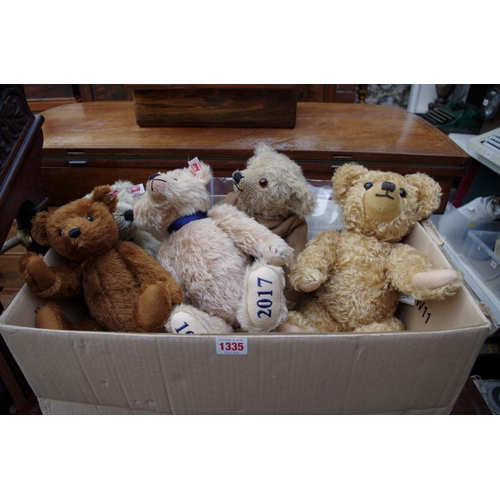 1335 - <strong>Three Steiff teddy bears, </strong>to include 'The House of Windsor Bear'; 'The Worlds First...