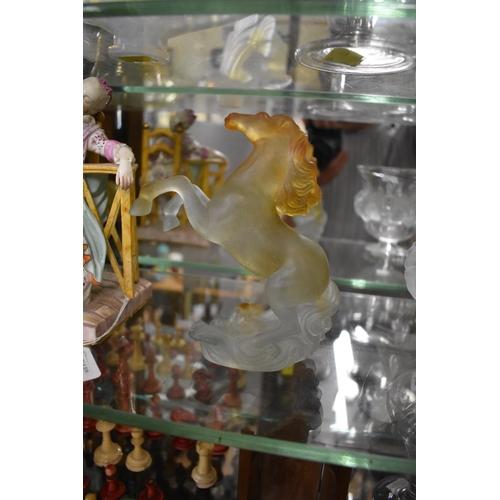 1711 - <strong>A Daum pate de verre glass rearing horse,</strong> engraved mark, 16cm high....