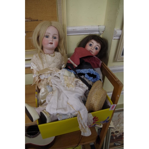 1868 - <strong>A Heubach Koppelsdorf 250-3 porcelain head doll;</strong> together with anA. Lanternier et ...