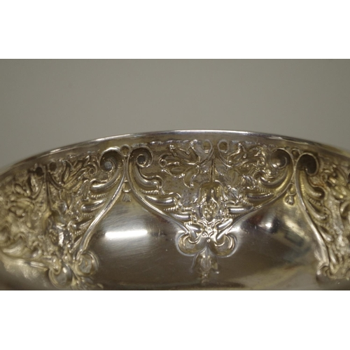11 - <strong>An Edwardian silver rose bowl, </strong><em>by Charles Edwards, </em>London 1903, 14.5cm dia...