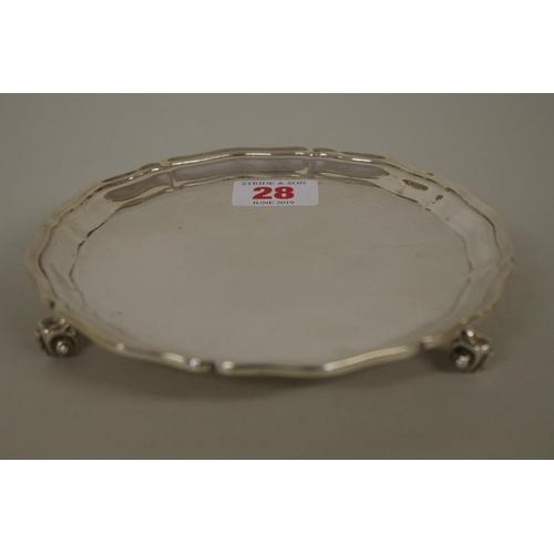 28 - <strong>A silver card tray,</strong> <em>by</em><em>S Blanckensee & Sons</em> <em>Ltd</em>...