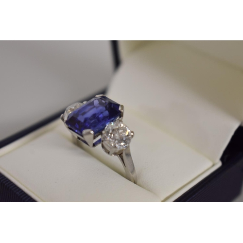 296 - <strong>A good 9.5ct natural Ceylonese sapphire and diamond ring, </strong>the two old European cut ...