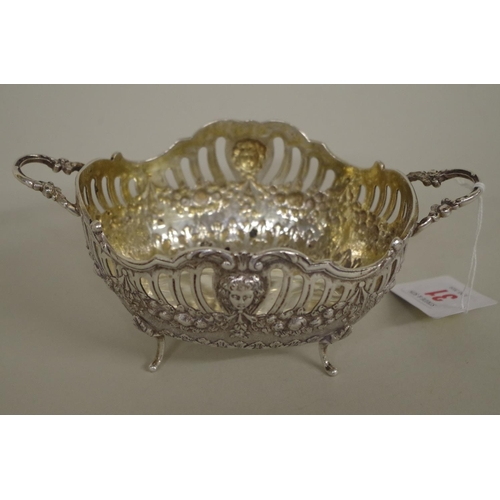 31 - <strong>A French white metal twin handled basket,</strong> 7.5cm high....