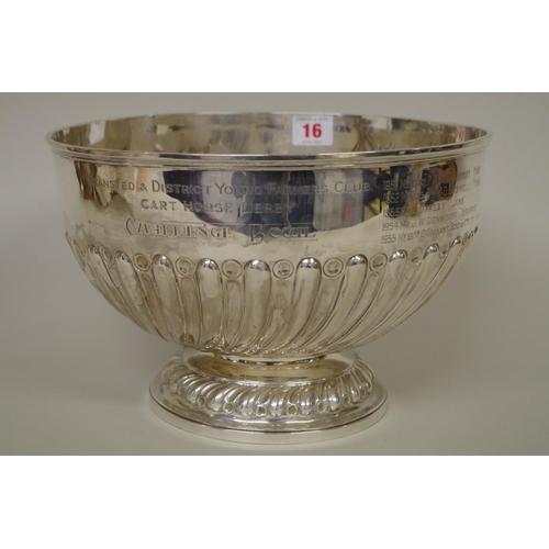 16 - <strong>An impressive Edwardian silver pedestal bowl,</strong><em>by Goldsmiths & Silversmiths ...