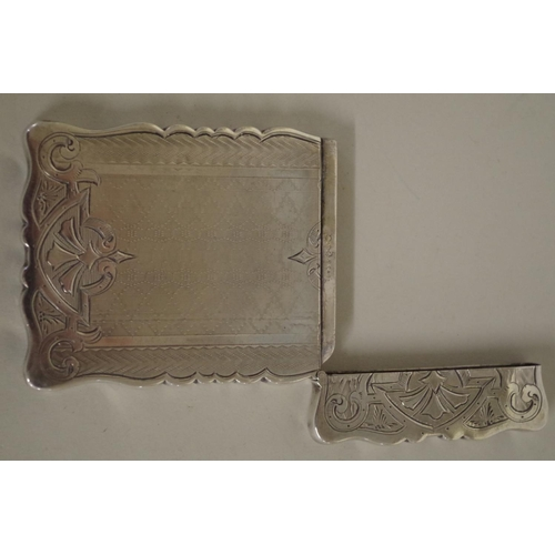 36 - <strong>A Continental white metal card case,</strong>9.5 x 6.5cm, initials to cartouche....