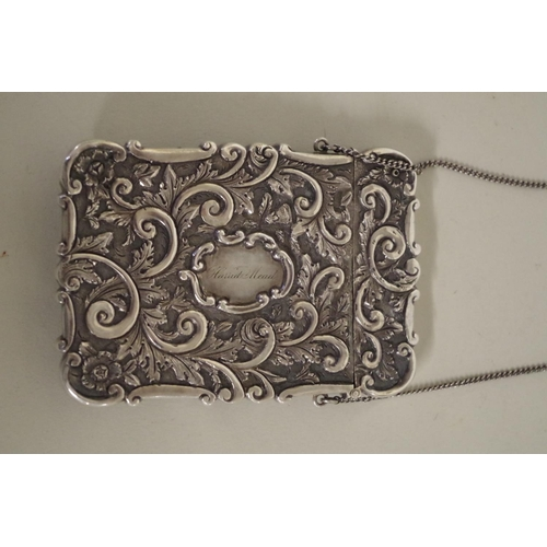37 - <strong>A rare Victorian silver 'Melrose Abbey' castle top card case,</strong><em> by Nathaniel Mill...