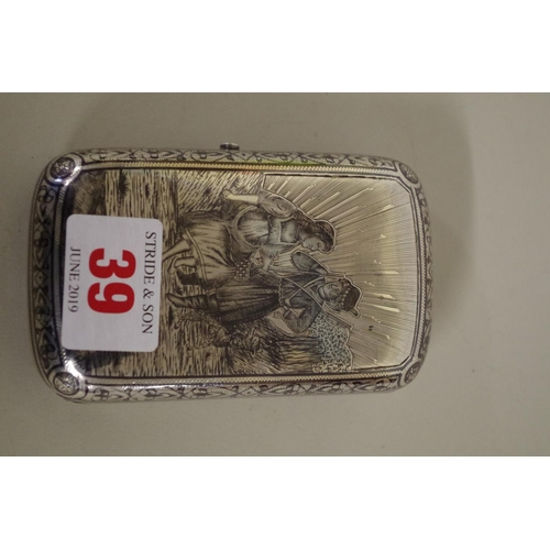 39 - <strong>A Russian niello cigarette case,</strong> <em>assay masters mark Vasily A Petrov, </em>Mosco...