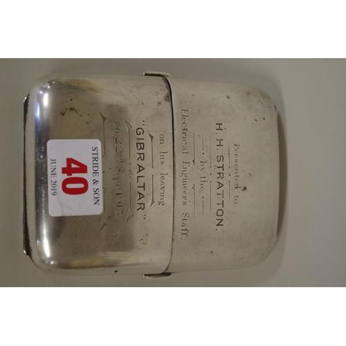 40 - <strong>A silver cigar case</strong>, <em>by Walker & Hall</em>, Sheffield 1910, engraved inscri...