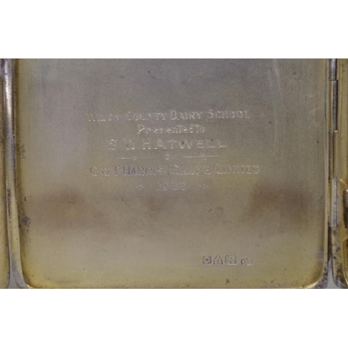 42A - <strong>Two silver engine turned cigarette cases,</strong>237g....