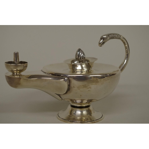 6 - <strong>An Edwardian silver 'Aladdin's lamp' table lighter</strong>, <em>by Stokes & Ireland Ltd...
