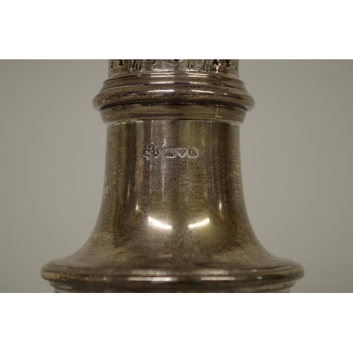 7 - <strong>A silver sugar castor,</strong> <em>by J B Chatterley and Sons Ltd, </em>Chester 1938, ...