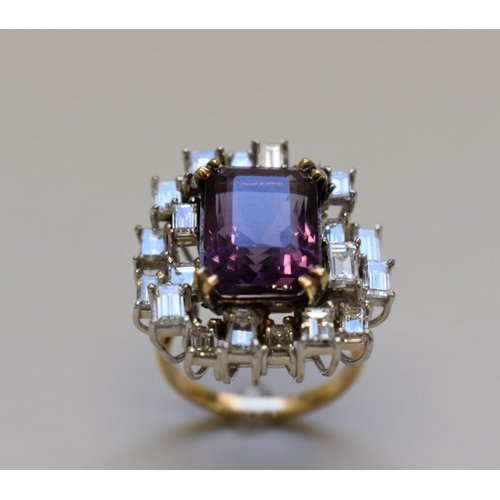 295 - <strong>A large amethyst and baguette diamond cocktail ring, </strong>stamped 18ct....