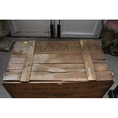 1208 - <strong>A vintage pine 'Waring & Gillow (1932) Ld Removals' crate,</strong>89cm wide....