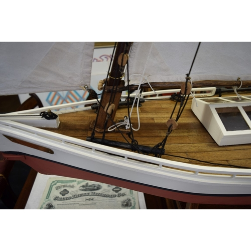 1873 - <strong>A large pond yacht model of a shallow drafted sailing vessel, </strong>overall length 164cm....