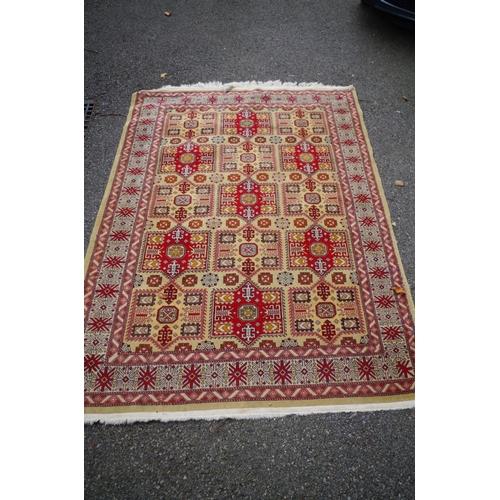 1101 - <strong>A Caucasian rug,</strong>having allover geometric design, 194 x 138cm....